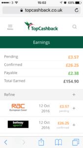 My TopCashback earnings