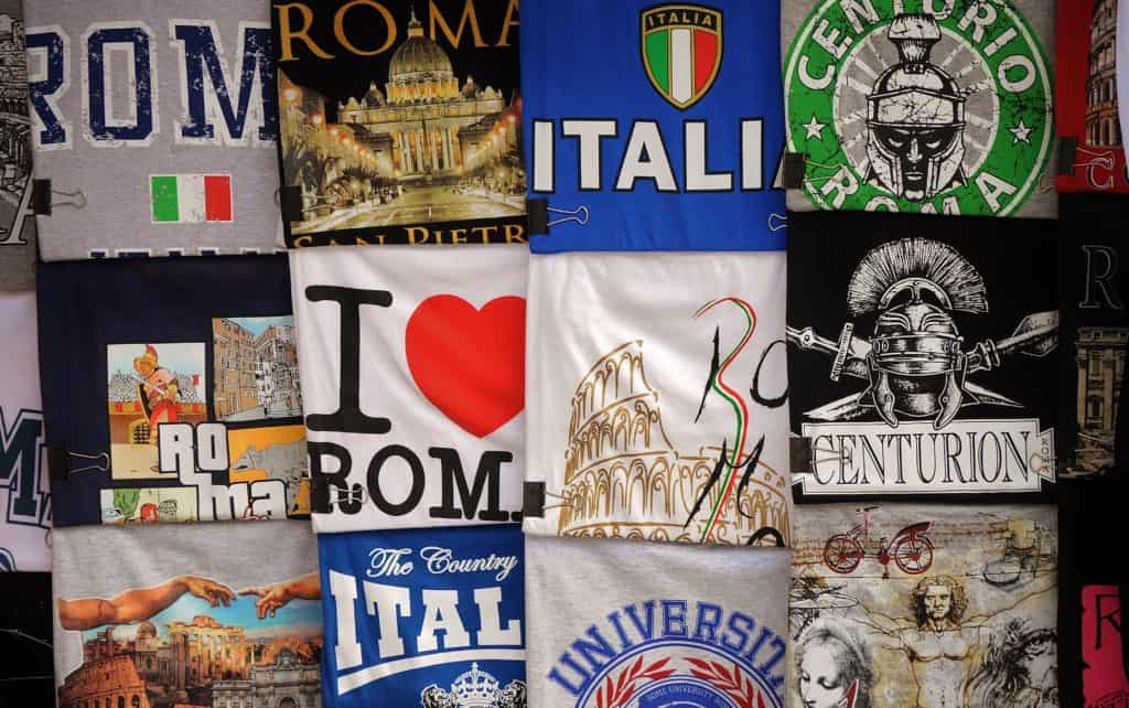 a selection of Italian t shirts - some examples of the kind of designs you could sell on Amazon!