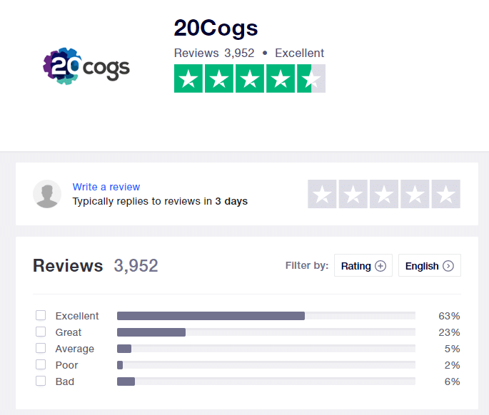 20cogs trustpilot screenshot showing average score as 'excellent'