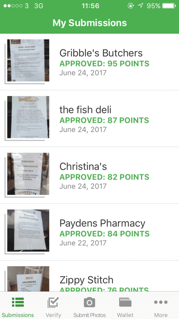 Job Spotter app review: screenshot of approved signs