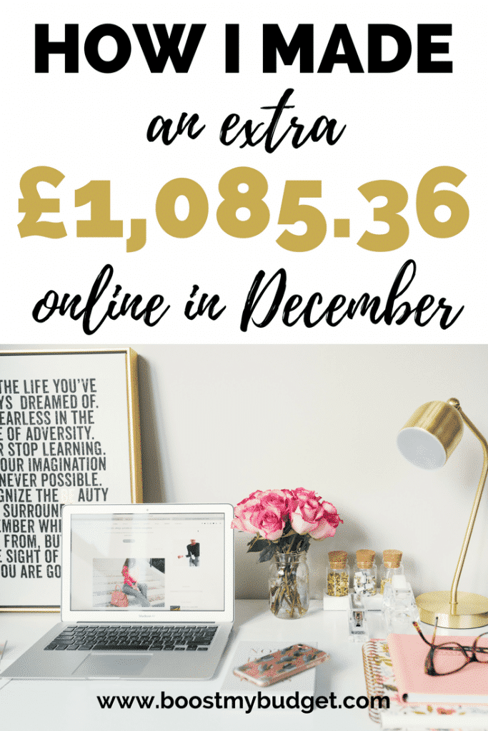 I make money online! I use various side hustles to make extra money from home each month. In December, I earned over £1000 in my spare time. Find out how you can do the same!