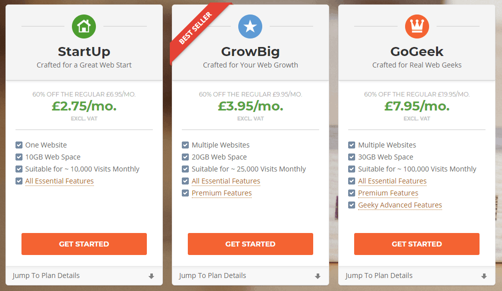 How to start a blog to make money: choose a hosting plan on Siteground