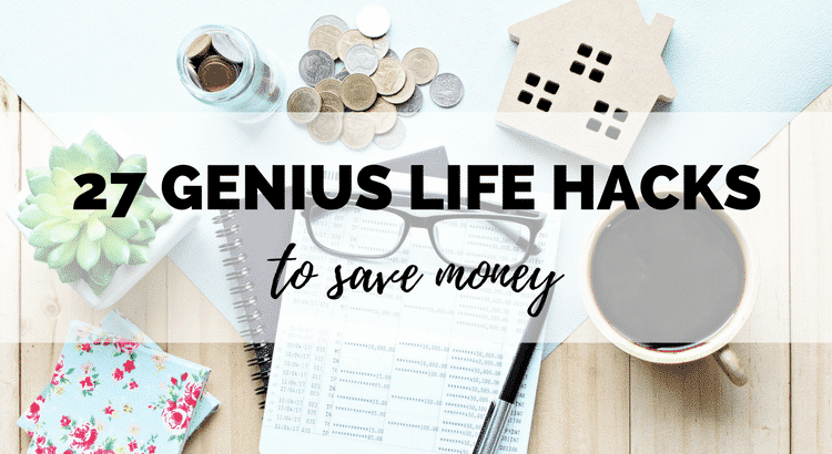 Over 27 GENIUS life hacks for saving money! You can save serious money with these tips and ideas! Lots of ways to automate your money saving so you don't even notice. Challenge yourself - you'll be surprised how much you save on your monthly budget!