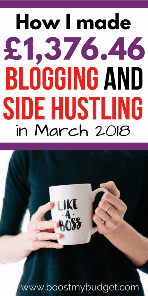 WOW - you've got to read this and see how she makes money online! This woman made £1,376.46 online in extra income last month, and that's on top of a day job! It's not just blogging income either - lots of different side hustle ideas which anyone can try to make money from home. Check out the income report for money making ideas!