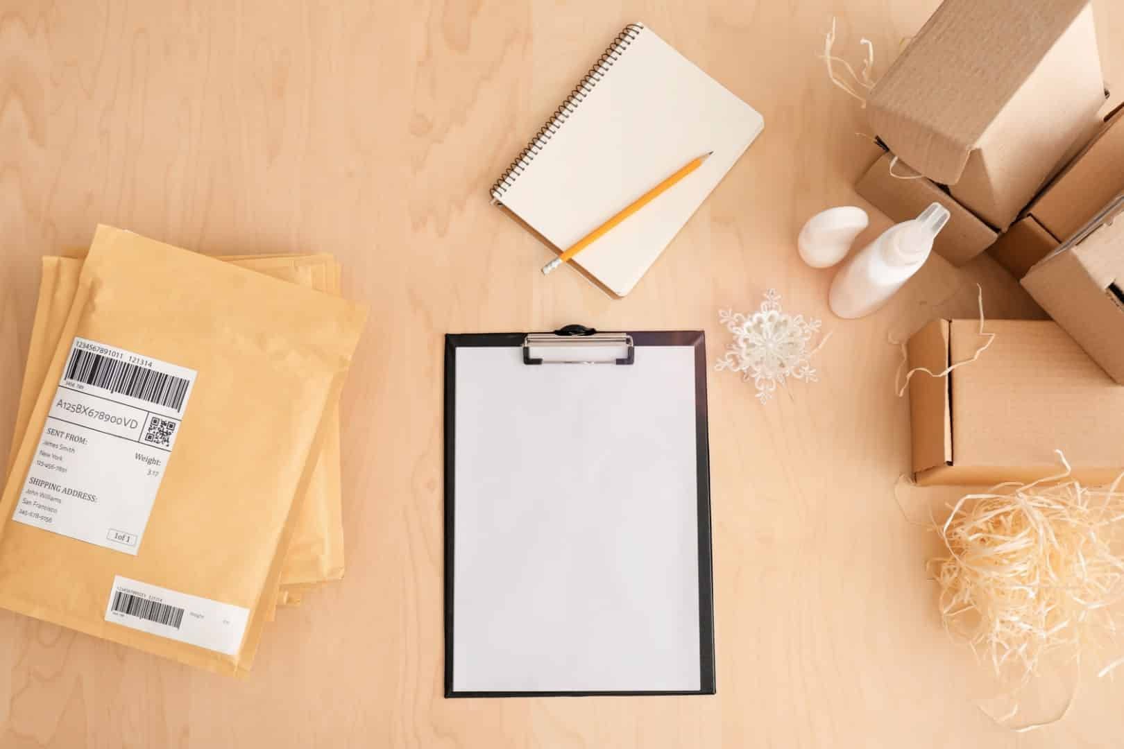 clipboard and packing materials ready to sell things on amazon