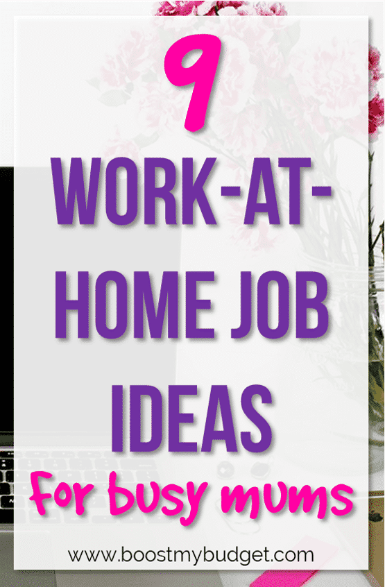 Fun work at home job ideas for moms to earn extra money while you stay at home with the kids! Just because you're a stay at home mom now doesn't mean you have to give up your career - carry on making money from home with these tips and ideas.