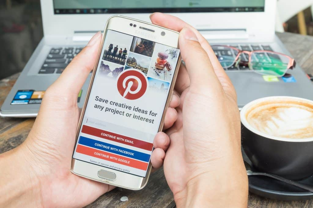 working on Pinterest on your smartphone