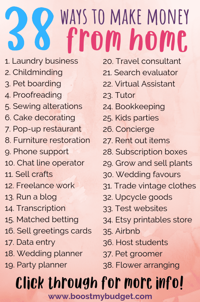 38 ways to make money from home! You're bound to find your ideal work at home job on this list. Please pin and save for later! :)