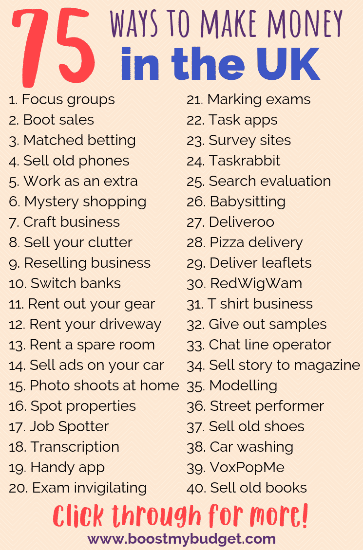 75+ ways to make money in the UK! Pin this list NOW so you'll never be short of an idea to make more money!