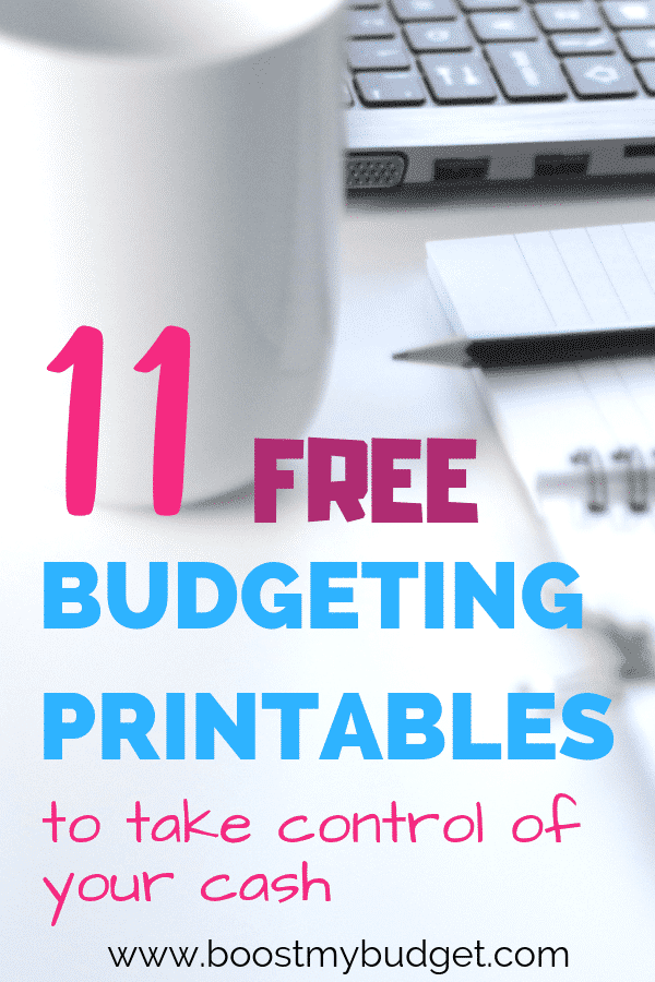 11 free budgeting printables to save money on your family shop, pay off debt, save money for a goal, create a monthly budget and more!