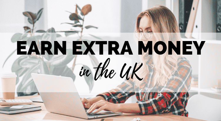 how to earn extra money uk featured image - a woman in checked shirt sitting at her laptop