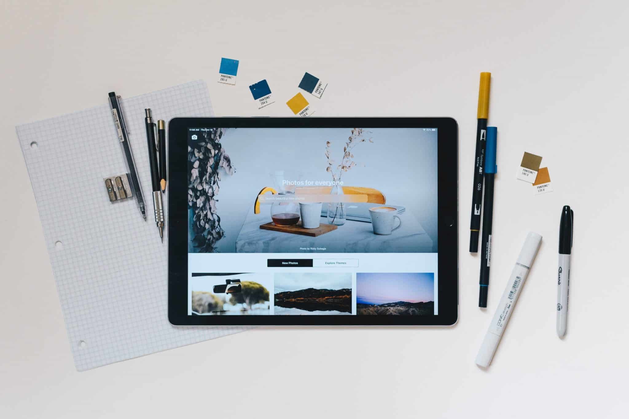 a flat lay image of a tablet used for design