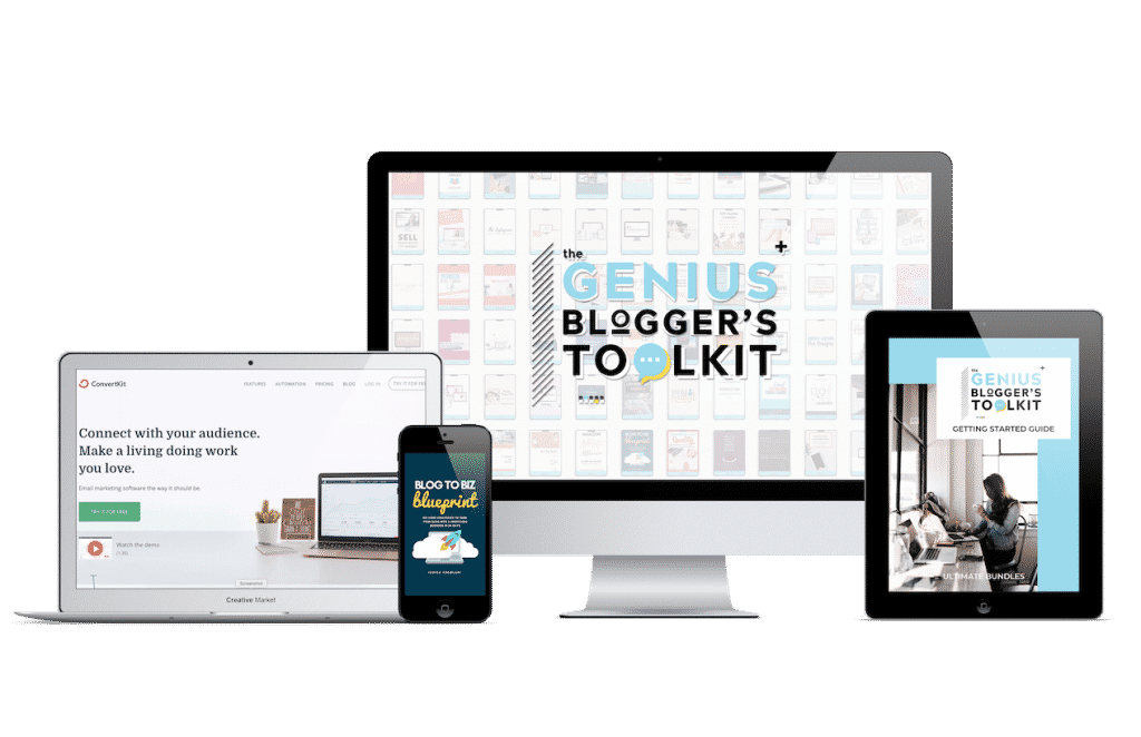 Genius Blogger's Toolkit 2019 full bundle image on desktop, phone and tablet