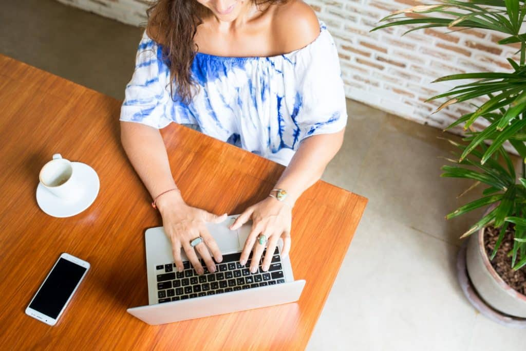 woman working on a laptop