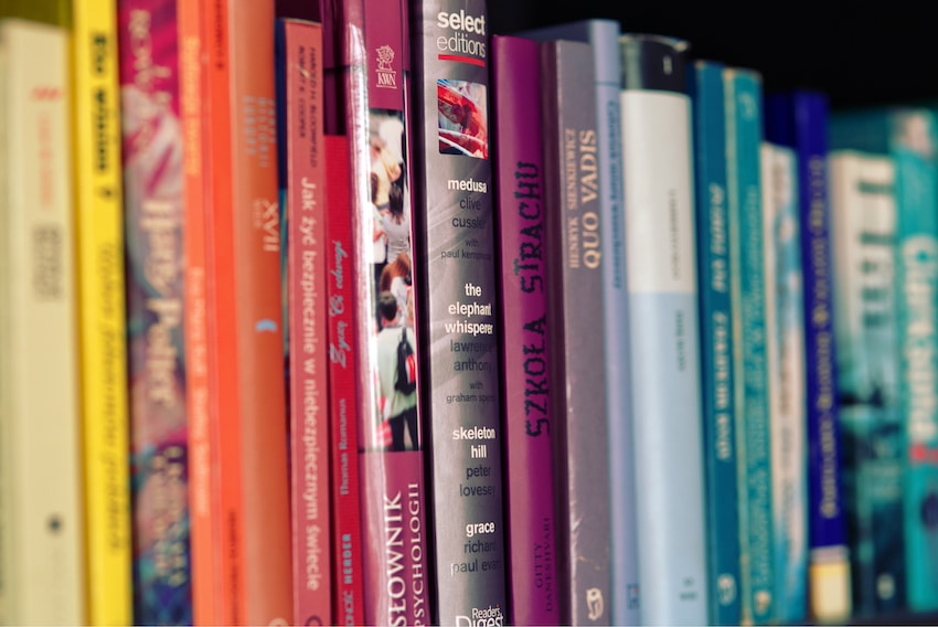 a row of second hand books - you can make extra money selling these on various apps and websites!