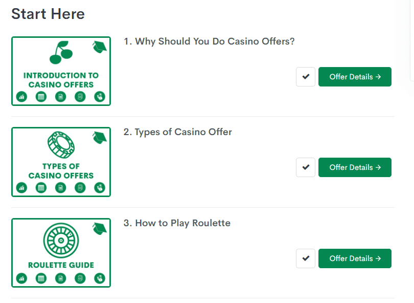 screenshot of bonus accumulator guides to casino