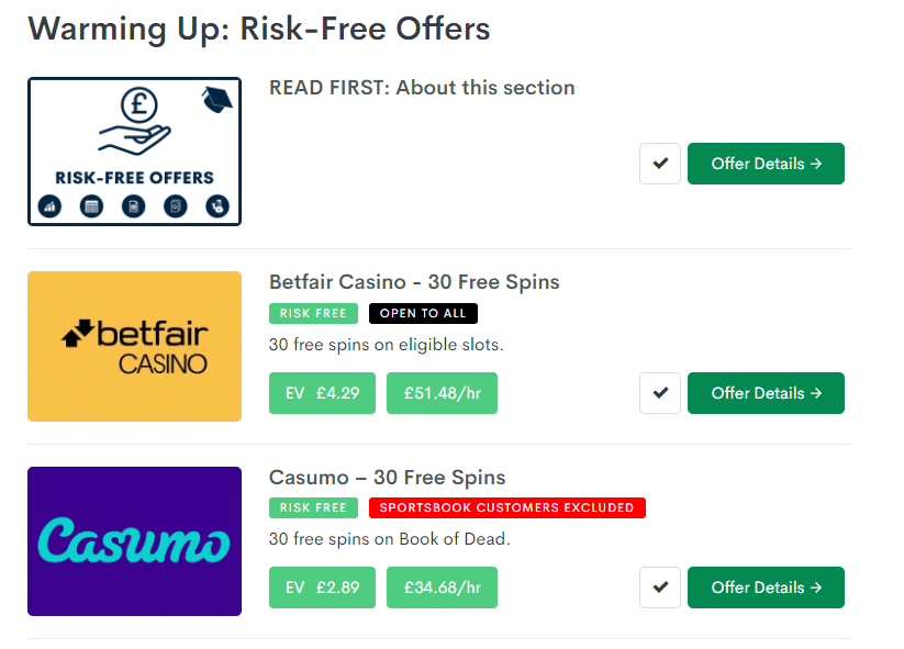 screenshot of bonus accumulator's risk free offers