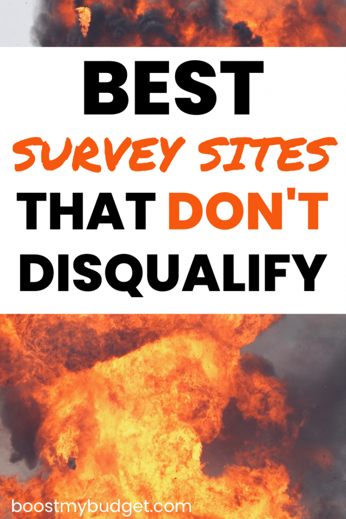 Pinterest image with the text 'best survey sites that don't disqualify you' and explosion in background'