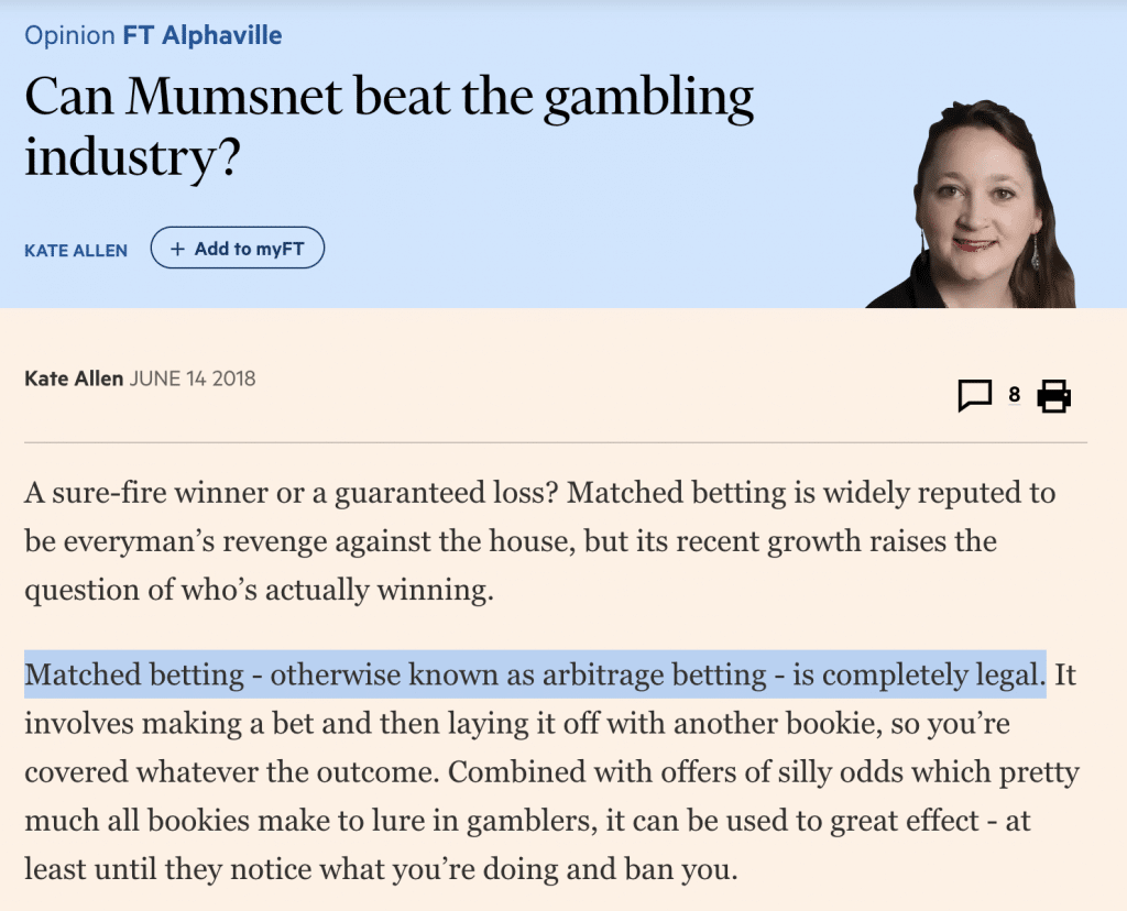 a screenshot of a FT article on matched betting, titled 'Can Mumsnet beat the gambling industry' and highlighting the fact that matched betting is legal.