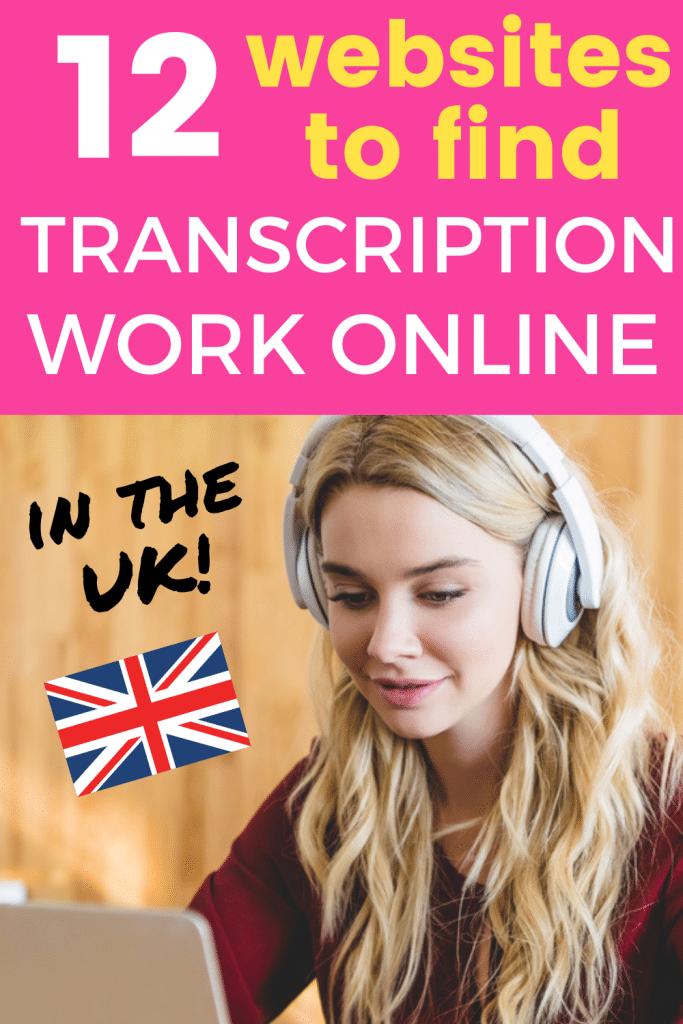 Pinterest image: 12 websites to find transcription work online in the UK.