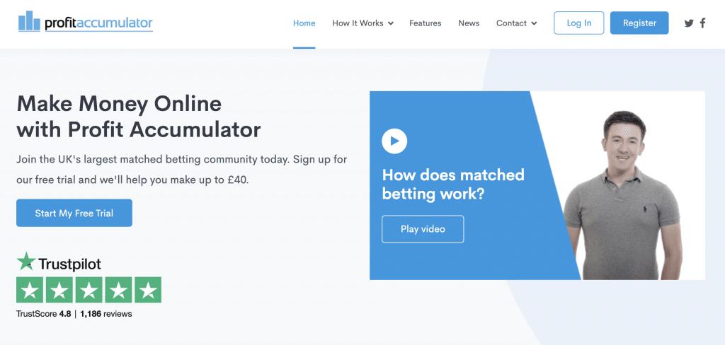 a screenshot of matched betting site Profit Accumulator