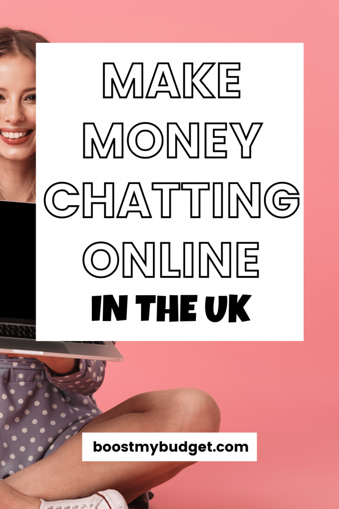 Text overlay: make money chatting online in the UK. Background: smiling woman on laptop, pink background.