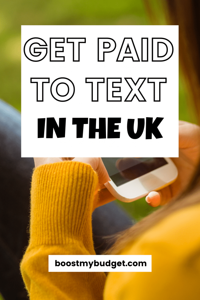 text overlay: get paid to text in the UK. background: woman in yellow top holding mobile phone.