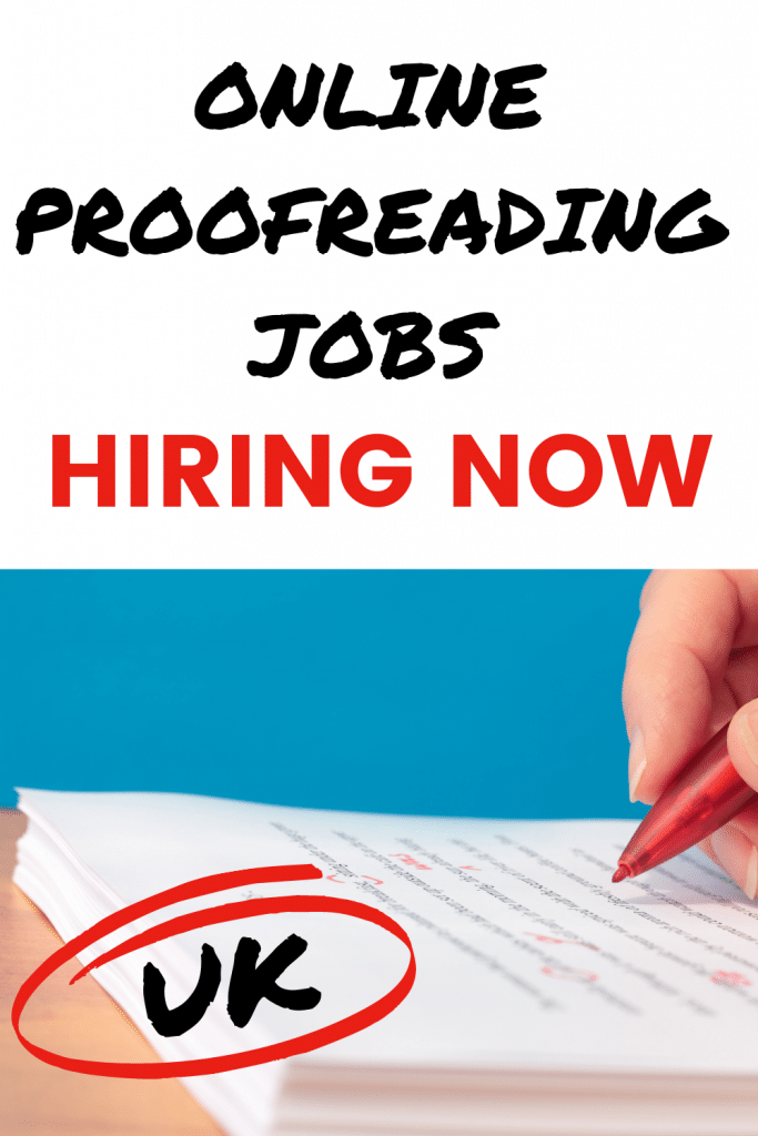 Pinterest image with text overlay: online proofreading jobs hiring now UK. Image of person proofreading printed text with red pen on a blue background.