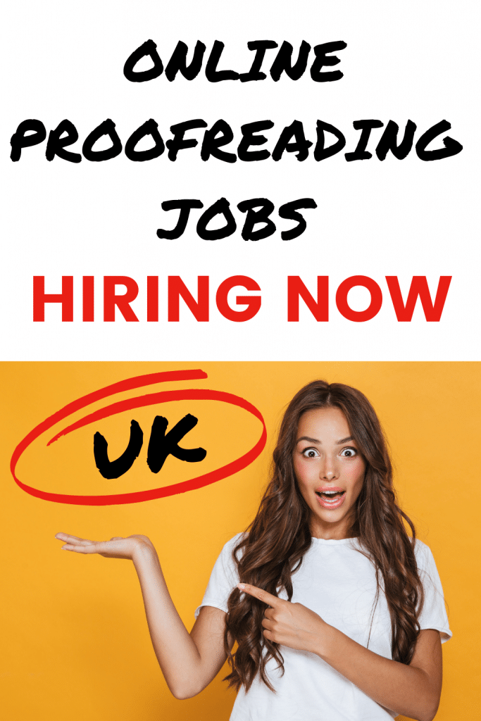 Pinterest image, girl in white top on yellow background with text overlay: online proofreading jobs hiring now UK